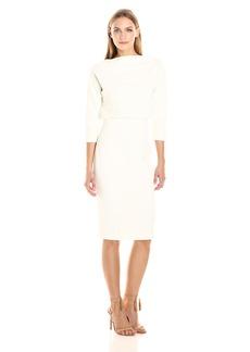 Badgley Mischka Women's 3/4 Sleeve Blouson Dress  XS