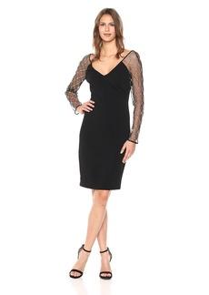 Badgley Mischka Women's Beaded Sleeve Dress