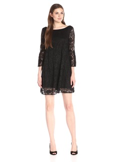 Badgley Mischka Women's Bell Sleeve Lace Dress