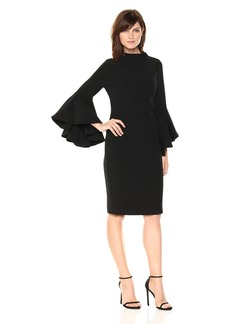 Badgley Mischka Women's Bell Sleeve Sheath Dress