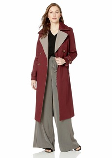 Badgley Mischka Women's Cotton Mid Length Trench Coat with Plaid Print Lapels