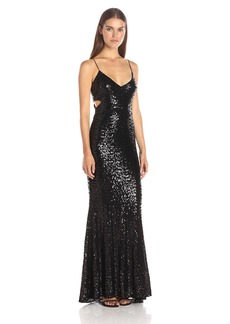 Badgley Mischka Women's Cross Over Sequin Gown