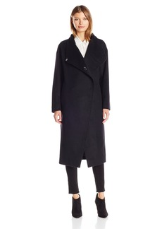 Badgley Mischka Women's Dawn Long Italian Cashmere Wool Coat with Leather Braiding  L