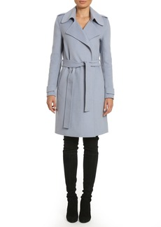 Badgley Mischka Women's Double Face Wool Wrap Trench Coat  L