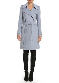 Badgley Mischka Women's Double Face Wool Wrap Trench Coat  M