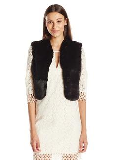 BADGLEY MISCHKA Women's Dressy Lace and Faux Fur Vest  Small/Medium