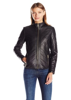Badgley Mischka Women's Eloise Quilted Leather Jacket  M