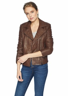 Badgley Mischka Women's Gia Asymetrical Leather Biker Jacket  Extra Large
