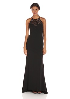 Badgley Mischka Women's Halter Gown with Lace Detail