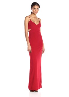 Badgley Mischka Women's Halter Neck Stretch Gown
