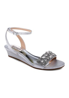 Badgley Mischka Women's Hatch Embellished Satin Demi Wedge Sandals