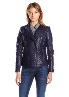 Badgley Mischka Women's Hayden Quilted Asymmetrical Leather Jacket  L