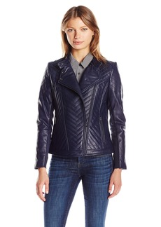 Badgley Mischka Women's Hayden Quilted Asymmetrical Leather Jacket  L