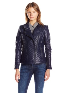 Badgley Mischka Women's Hayden Quilted Asymmetrical Leather Jacket  M