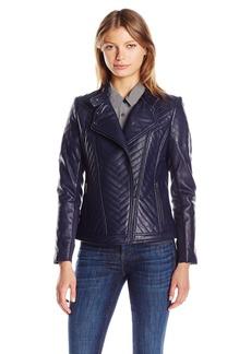 Badgley Mischka Women's Hayden Quilted Asymmetrical Leather Jacket  XL