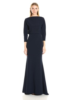Badgley Mischka Women's It Dress Stretch Crepe Blouson Gown