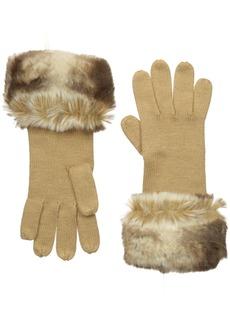 BADGLEY MISCHKA Women's Jersey Knit Glove with Faux Chinchilla Cuff