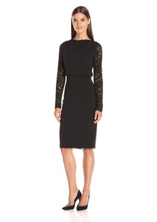 Badgley Mischka Women's Lace Sleeve Crepe Dress