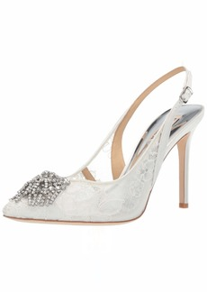 Badgley Mischka Women's Laken Pump White lace  M US
