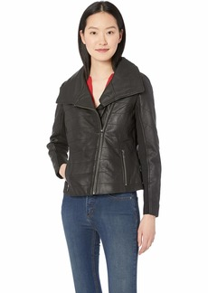 Badgley Mischka Women's Leather Biker Jacket with Envelope Collar