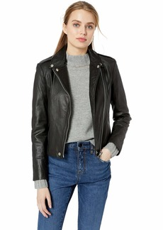 Badgley Mischka Women's Leather Washed Biker Jacket