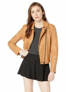 Badgley Mischka Women's Leather Washed Biker Jacket  Extra Large
