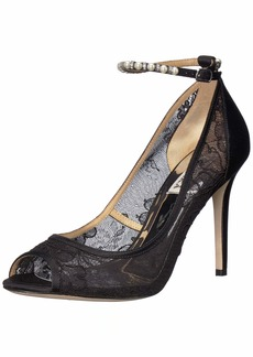 Badgley Mischka Women's Lesley Pump Black lace  M US
