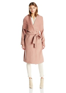 Badgley Mischka Women's Lex Double Face Wool Wrap Coat With Draped Collar  XL