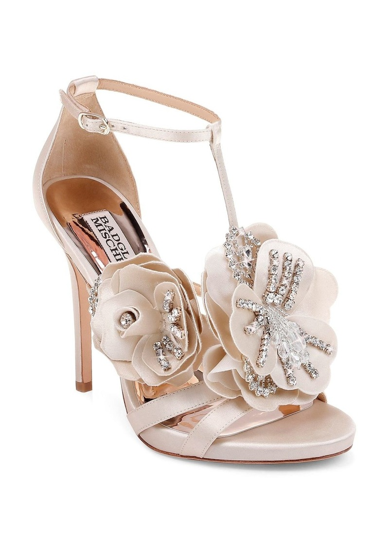 Badgley Mischka Women's Lisa Embellished Satin Floral Appliqu� High-Heel Sandals