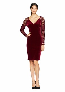 Badgley Mischka Women's Long Velvet Sleeve Lace Dress