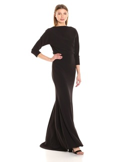 Badgley Mischka Women's Longsleeve Blouson Gown