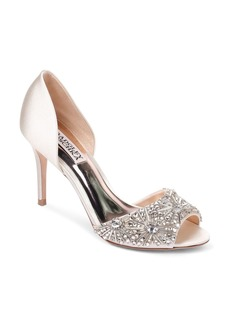Badgley Mischka Women's Maria Embellished Satin Peep Toe Pumps