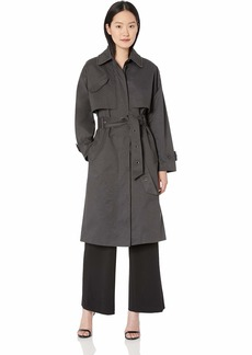 Badgley Mischka Women's Military Inspired Cotton Trench Coat with Beaded Trim