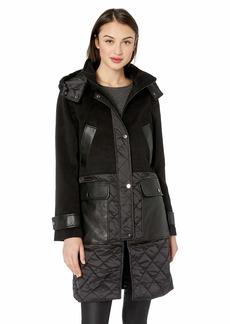 Badgley Mischka Women's Mixed Media Mid Length Wool Coat  Extra Small