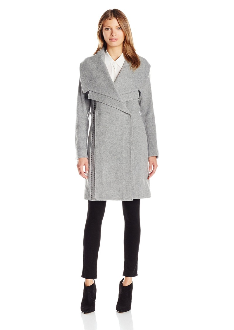 Badgley Mischka Women's Nikki Mid Length Italian Cashmere Wool Coat with Leather Braiding  L