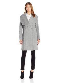 Badgley Mischka Women's Nikki Mid Length Italian Cashmere Wool Coat with Leather Braiding  S
