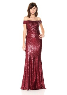 Badgley Mischka Women's Off Shoulder Sequin Gown