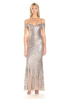 Badgley Mischka Women's Off The Shoulder Stretch Sequin Gown