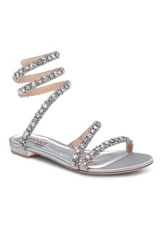 Badgley Mischka Women's Paz Embellished Satin Ankle Wrap Flat Sandals