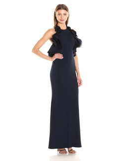 Badgley Mischka Women's Ruffle Halter Gown