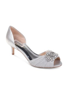 Badgley Mischka Women's Sabine Embellished Leather & Mesh Peep Toe d'Orsay Pumps