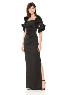 Badgley Mischka Women's Satin Gown with Origami Sleeves