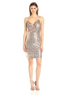 Badgley Mischka Women's Short Cowl Neck Sequin Dress