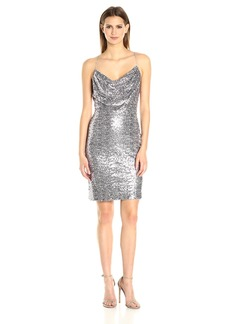 Badgley Mischka Women's Short Cowl Neck Sequin Dress