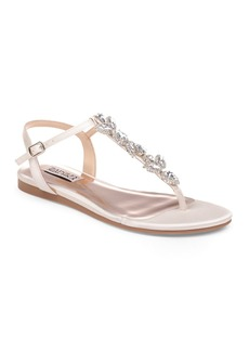 Badgley Mischka Women's Sissi Embellished Satin T-Strap Sandals