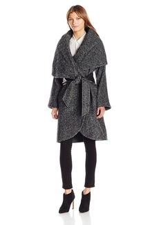 Badgley Mischka Women's Sloan Oversized Wool Wrap Coat with Convertible Collar  S