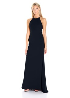 Badgley Mischka Women's Stretch Crepe Halter Gown