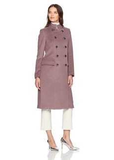 Badgley Mischka Women's Trinity Military Inspired Wool Coat with Embroidery Detail  M
