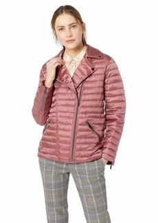 Badgley Mischka Women's Water Repellent Packable Nylon Puffer Biker Jacket Rose Extra Small