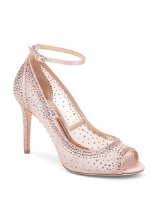 Badgley Mischka Women's Weylin Embellished Satin & Mesh Peep-Toe Pumps
